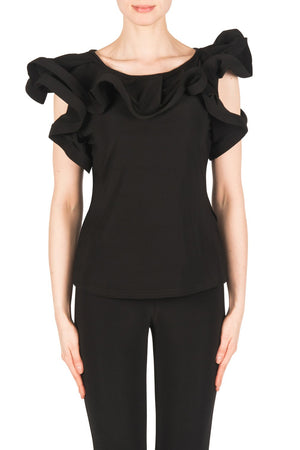 Joseph Ribkoff Black Top With Waves Design All Around Neck Line