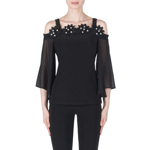 Joseph Ribkoff  3/4 Sleeves Open Shoulder Pearls Top