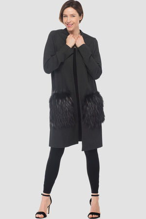 Joseph Ribkoff Long Sleeves Long Coat With Fur Pockets