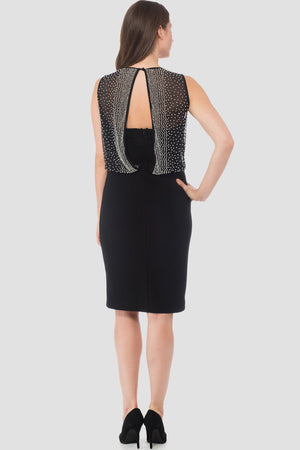Joseph Ribkoff Oval Collar Knee Lenght Open Back Rhinestones Dress