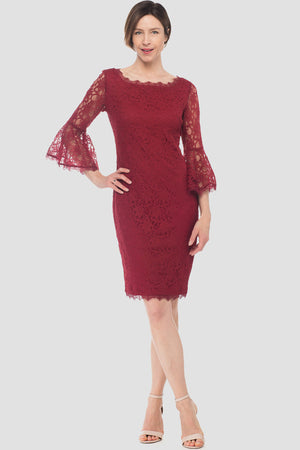 Joseph Ribkoff Bordeaux 3/4 Slevees With Bell Finish Dress