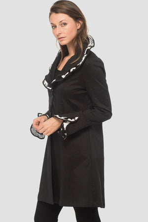 Joseph ribkoff Long Sleeves Long Jacket Black And White