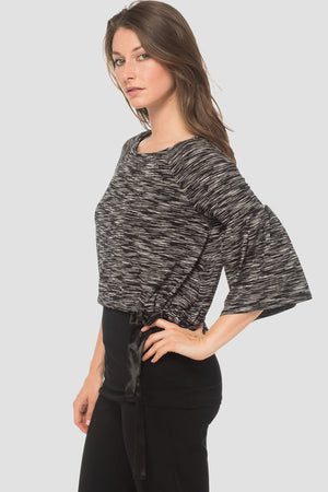 Joseph Ribkoff Black Solid Underlay With Shorter Black/Ivory Print 3/4 Sleeves Overlay Blousese