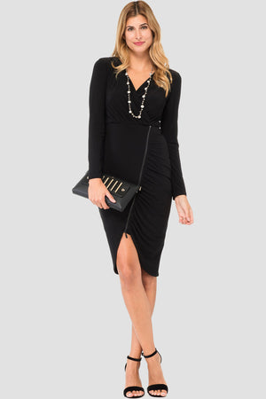 Joseph Ribkoff Long Sleeves Zipper Fitted Dress