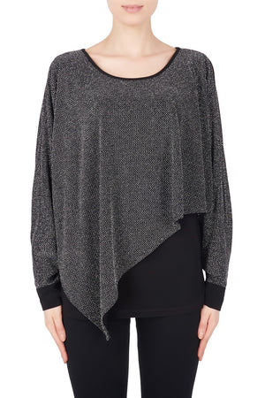 Joseph Ribkoff Assymetric Shinny Long Sleeves Top