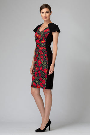 Joseph Ribkoff Front Flower Short Sleeves Dress