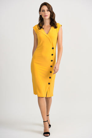 Joseph Ribkoff V Neck Sleeveless On The Side Buttons Dress