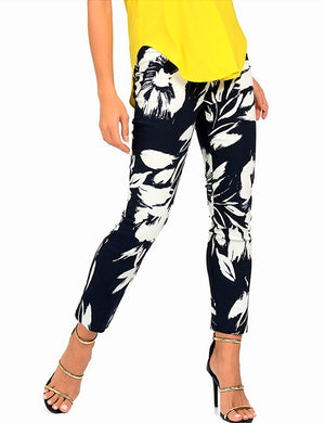 Joseph Ribkoff Floral White And Midnight Blue Pants