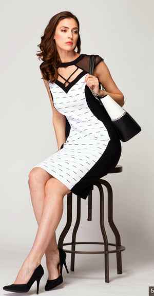 Joseph Ribkoff V Neck Mesh Topp Black/White Sleeveless Dress