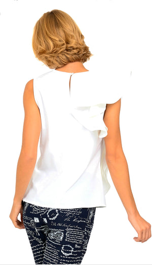 Joseph Ribkoff One Side Over Fabric Sleeveless Top