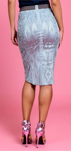 Byron Lars  Crochet Fringe Pencil Skirt