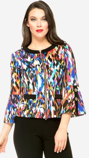 Joseph Ribkoff  Long Sleeves Zipper Multicolor Jacket