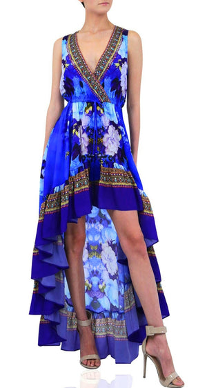 Shahida Parides Wrap Front Back Hi Low Dress