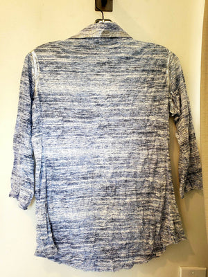 David Cline 3/4 Sleeves Crushed Shirt W/Foil Top