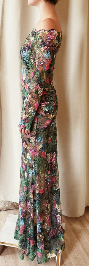 Olvis Long Sleeves Long Nude Floral Dress