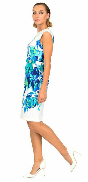 Joseph Ribkoff Floral Aqua And White Sleeveless Dress