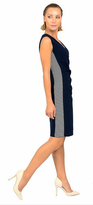Joseph Ribkoff Side Stripes Sleeveless Dress