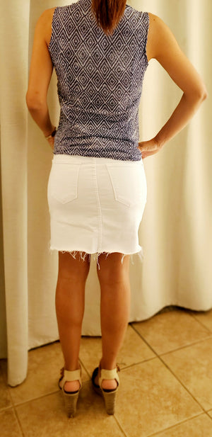 Flying Monkey High Rise Frayed Hem Skirt