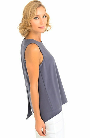 Joseph Ribkoff Sleeveless Round Neck Open Bottom Top