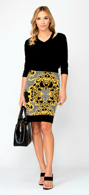Joseph Ribkoff Pencil Printed Skirt