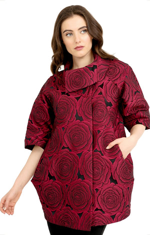 Joseph Ribkoff 3/4 Sleeves Flower Coat