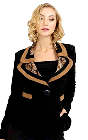 Joseph Ribkoff Long Sleeves Leopard Collar Jacket