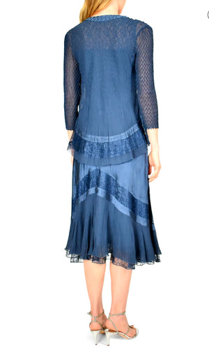Komarov Sleeveless Maxi Dress True Steel Blue Ombre