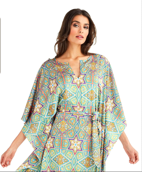 Wrap Up Short Ceramic Butterfly Kaftan Tunic