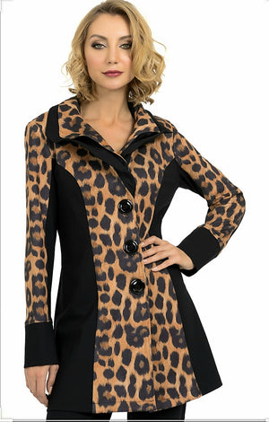 Joseph Ribkoff Long Sleeves Leopard Print Two Tones Coat