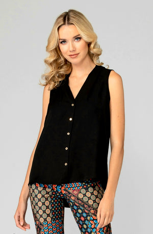 Joseph Ribkoff Front Buttons Sleeveless Blouse