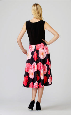 Joseph Ribkoff Sleeveless V Neck Floral Bottom Dress