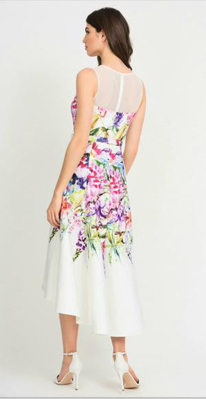Joseph Ribkoff Sleeveless Mesh Top Floral Dress