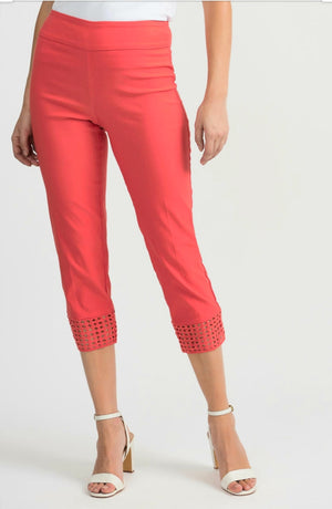 Joseph Ribkoff 3/4 Length Perforated Bottom Pants