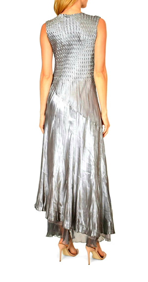 Komarov V Neck Long Dress Oyster Smoke Ombre