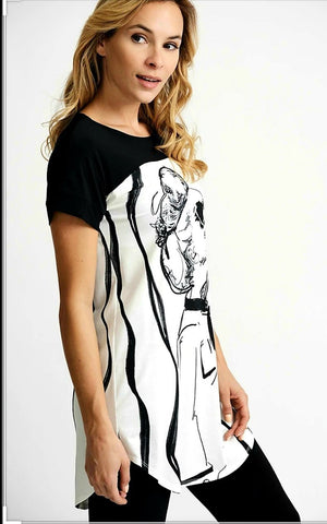 Joseph Ribkoff Short Sleeves Women's Face Drawing Top