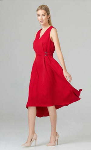 Joseph Ribkoff V Neck Sleeveless Belt Dress
