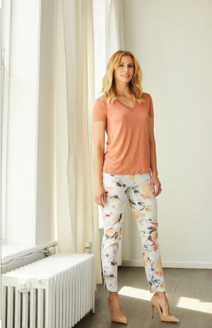 Up pants! Floral Spring With Slit Pants