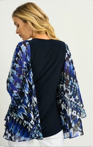 Joseph Ribkoff Square Neck Oversize Sleeves With Print Blouse