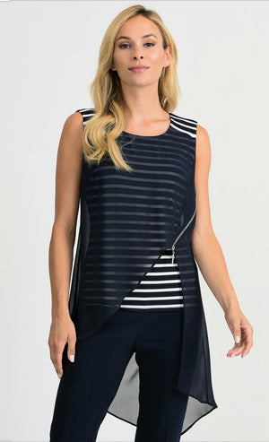 Joseph Ribkoff Sleeveless Stripes Tunic