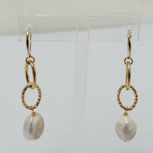 Ramina Pearls Double Hoop Gold Filled Earrings With White Baroque Pearls