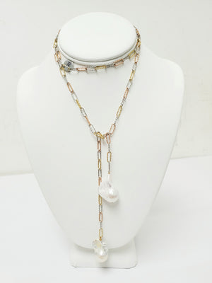 Ramina Pearls Silver And Gold Paper Clip Larriat With Two Baroque Pearls Necklace