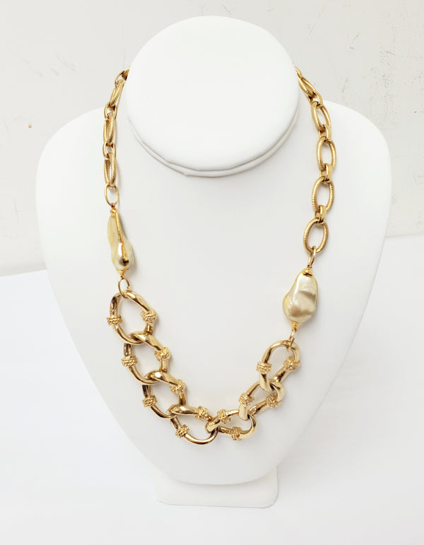 Rumina Pearls Gold Filled Cartier Style Chain With Two Gold Pearls With 25K Overlay Edges