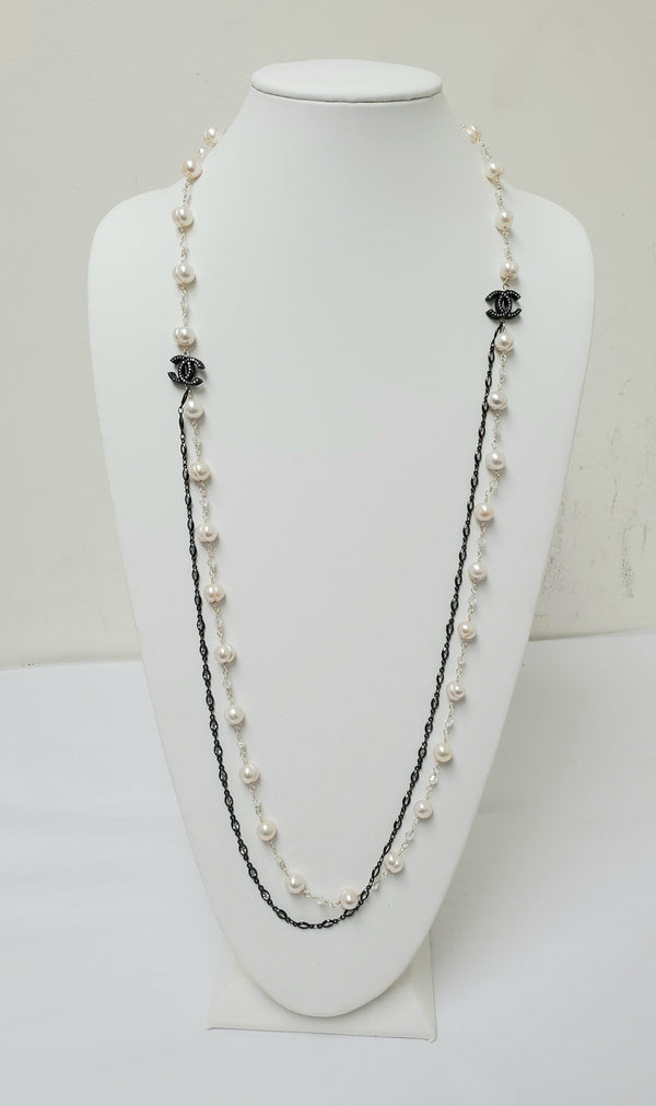 Ramina Pearls Double Silver Black Channel Necklace