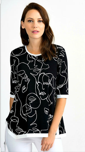 Joseph Ribkoff 3/4 Sleeves Round Neck Printed Top