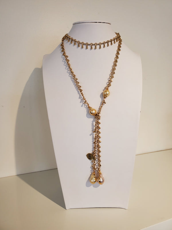 Ramina Pearls Gold Filled Chain Long With Four Golden Baroque Pearls