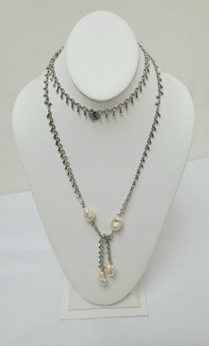 Ramina Pearls Silver Long Chain With White Baroque Pearls Necklace
