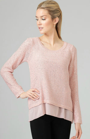 Joseph Ribkoff Long Sleeves Round Neck Sparkles Sweater