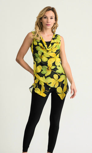 Joseph Ribkoff Sleeveless Floral  V Neck Tunic
