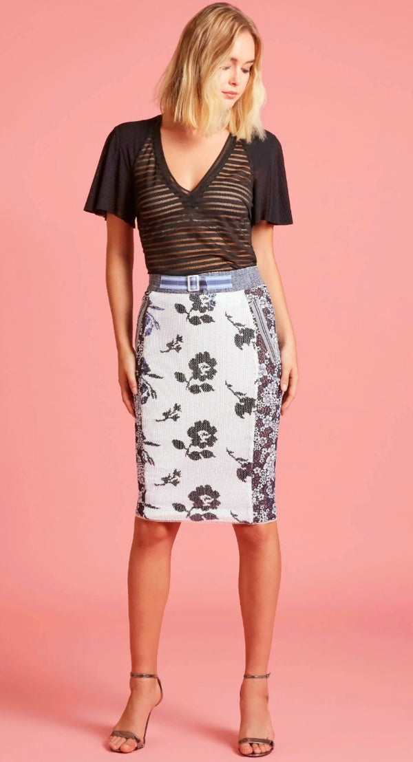 Byron Lars Maritime Pencil Flower Skirt