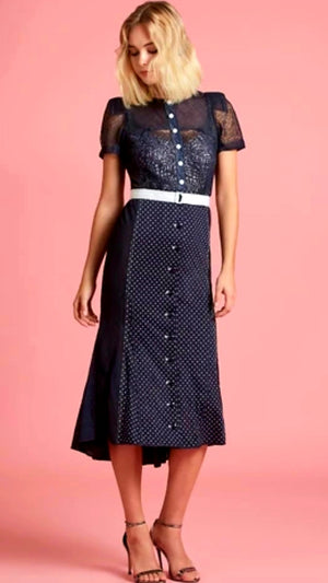 Byron Lars Polkadot Belt Short Sleeves Dress